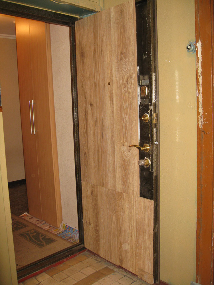 Установка мдф панели на металлическую дверь своими руками 36