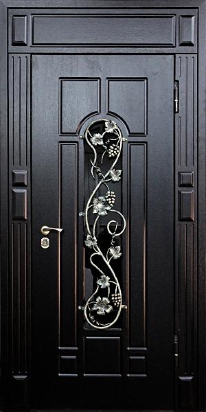 входные стальные двери со стеклопакетом и кованной решоткой