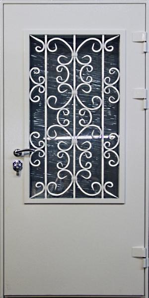 входные металлические двери со стеклом и кованной решоткой