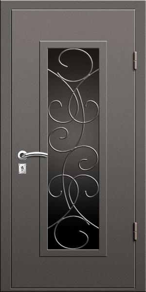 входная дверь с стеклом и решеткой