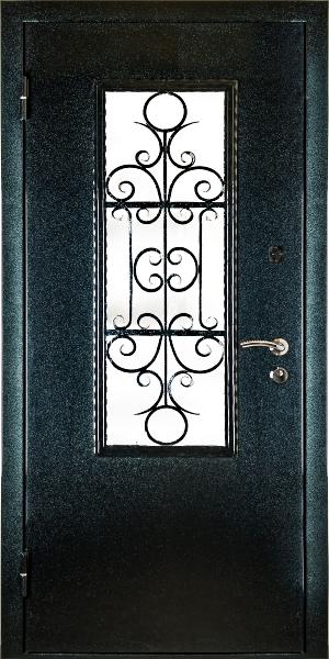 двери стальная с ковкой и стеклом