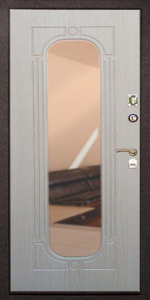 декоративная отделка входных дверей с зеркалом