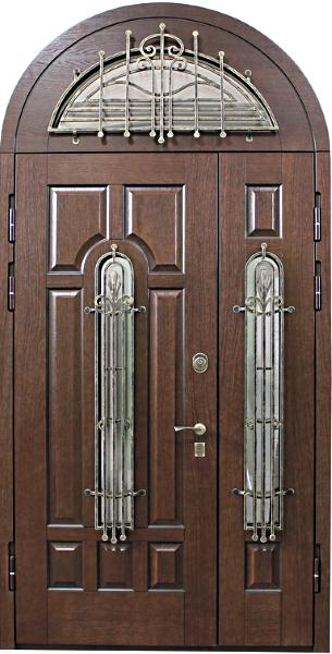 арочные железные двухстворчатые двери со стеклом